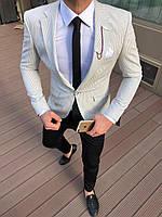 Мужской пиджак классический светло-серого цвета в полоску