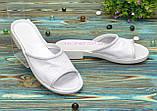 Женские кожаные шлепанцы на утолщенной подошве, цвет белый, фото 2