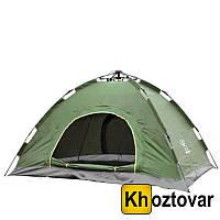 Палатка с автоматическим каркасом четырехместная   Зеленая палатка №5
