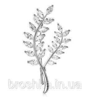 Біла брошка гілочка з камінням ювелірна біжутерія, фото 2