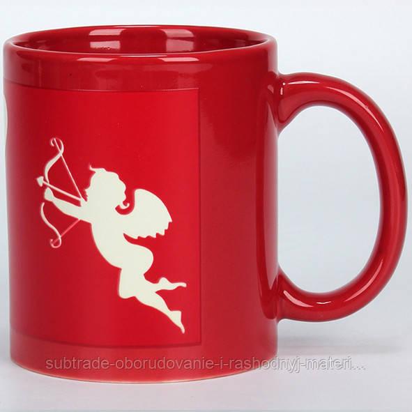 Чашка сублимационная цветная с полем хамелеон КРАСНАЯ (ангел)