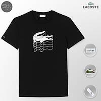 Черная футболка мужская Lacoste | как оригинал |бирки