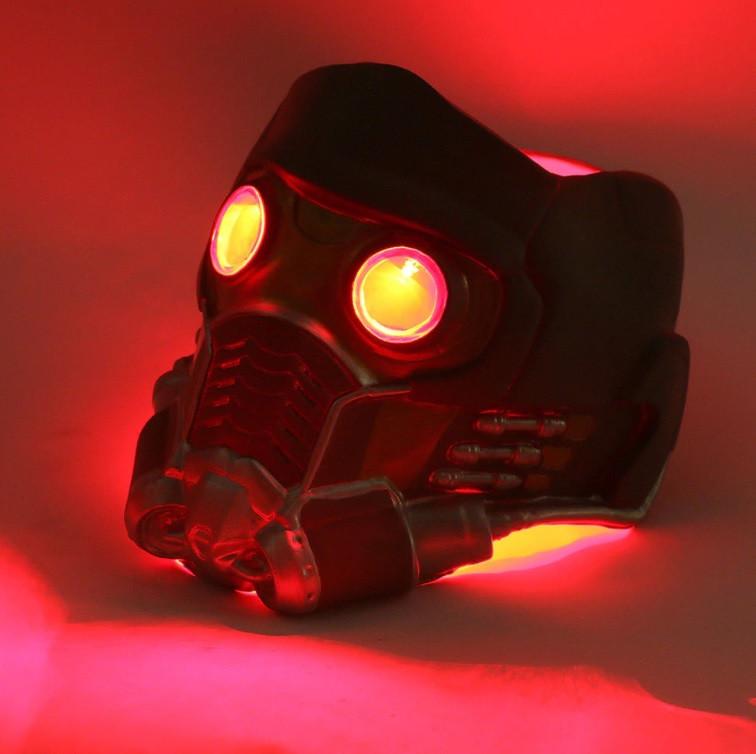 Крутой шлем Звездного Лорда из Стражей Галактики с подсветкой. Латексная маска Квил