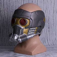 Крутой шлем Звездного Лорда из Стражей Галактики с подсветкой. Латексная маска Квил, фото 2