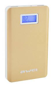 Внешнее зарядное устройство Power Bank AWEI P83K c LCD экраном и фонариком Gold
