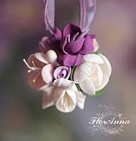 """Кулон с цветами из полимерной глины """"Воздушный  пурпур"""", фото 1"""