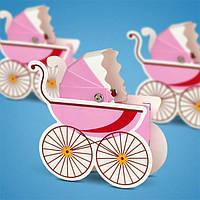 Бонбоньерка на свадьбу в виде детской колясочки