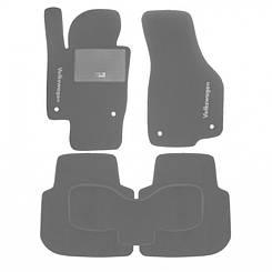 Ворсовые коврики для VW Caddy (2004-) Текстильные в салон авто (серые) (StingrayUA.)