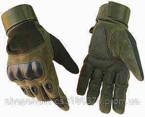 Тактические перчатки полнопалыеOakley L темно-зеленые