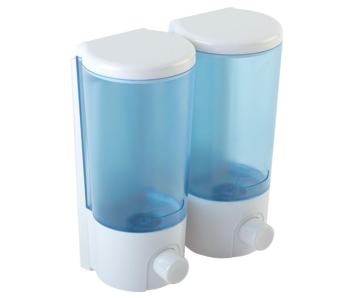Дозатор двойной пластик (сине-белый) 760 мл Potato P404 белый