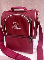 Ланч бокс Dolphin, термосумка - рюкзак для еды, ланч бэг, терморюкзак для обеда, сумка холодильник. Бордовый