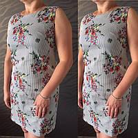 Женское платье полубатал в полоску с цветами