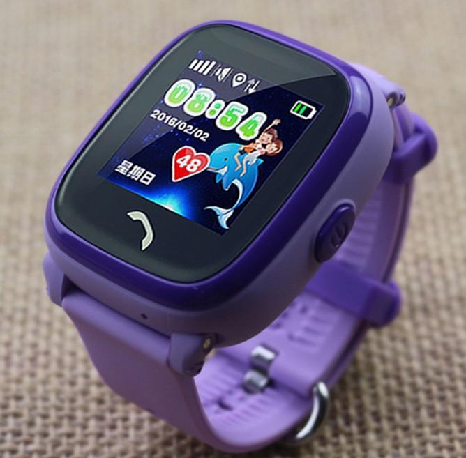 Детские Водонепроницаемые часы с gps Q300S (Q100 aqua) фиолетовые