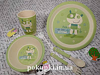 Набор детской эко посуды, бамбуковая посуда лыжник