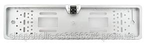Камера заднего вида в рамке номерного знака A58 с подсветкой серебряный