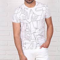 Мужская модная футболка Emporio Armani, белого цвета.