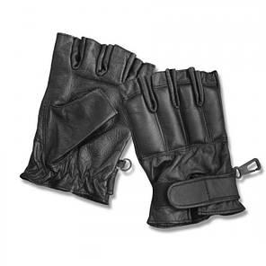 Кожаные беспалые перчатки MilTec Defender Black 12516002, фото 2