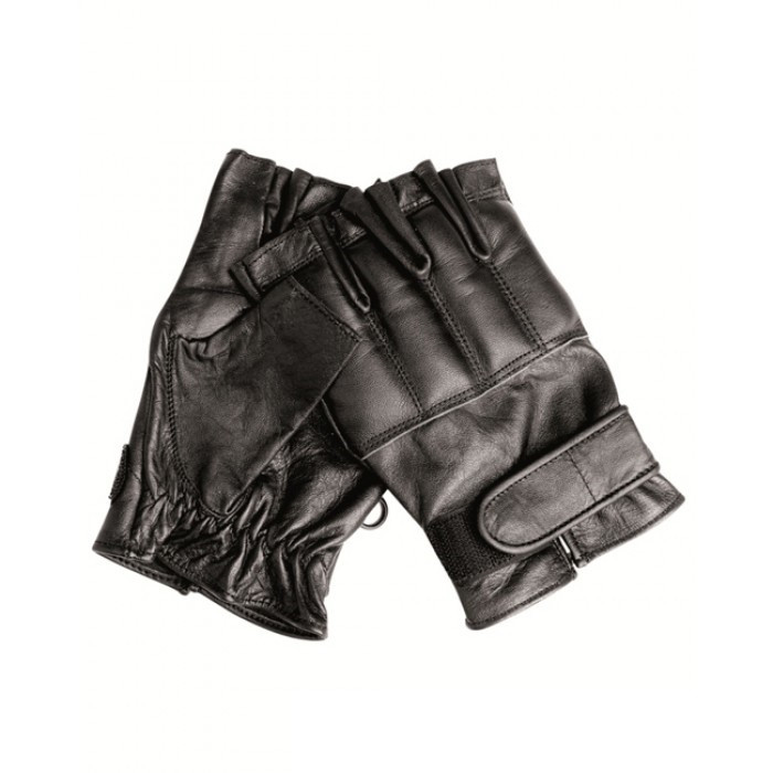 Кожаные беспалые перчатки MilTec Defender Black 12516002 M