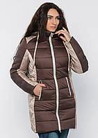 Куртка женская №15 длинная (шоколад/бежевый)  купить
