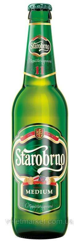 Чешское непастеризованное пиво Старобрно 11 (Starobrno 11) светлое 0,5 л