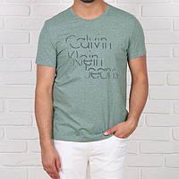 Мужская модная футболка Calvin Klein, оливкового (зеленого, мятного) цвета.