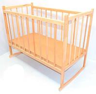 Детская кроватка деревянная, качалка, зафиксированы боковины (Дерево - ольха)