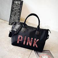 eae2798f52db Сумка женская PINK в стиле Victoria's Secret дорожная спортивная для  фитнеса, путешествий (черная)