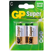 Батарейка GP SUPER ALKALINE, 1.5V, 14A-U2, щелочная, LR14, С (4891199000010)