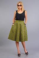 Женская желтая принтованая юбка