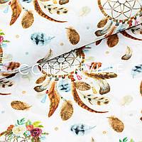 Хлопковая ткань Крупные ловцы снов на белом
