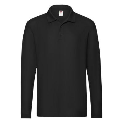 b0ce86f835b2 Цена на Чёрную мужскую рубашку поло с длинным рукавом однотонную в интернет  ...