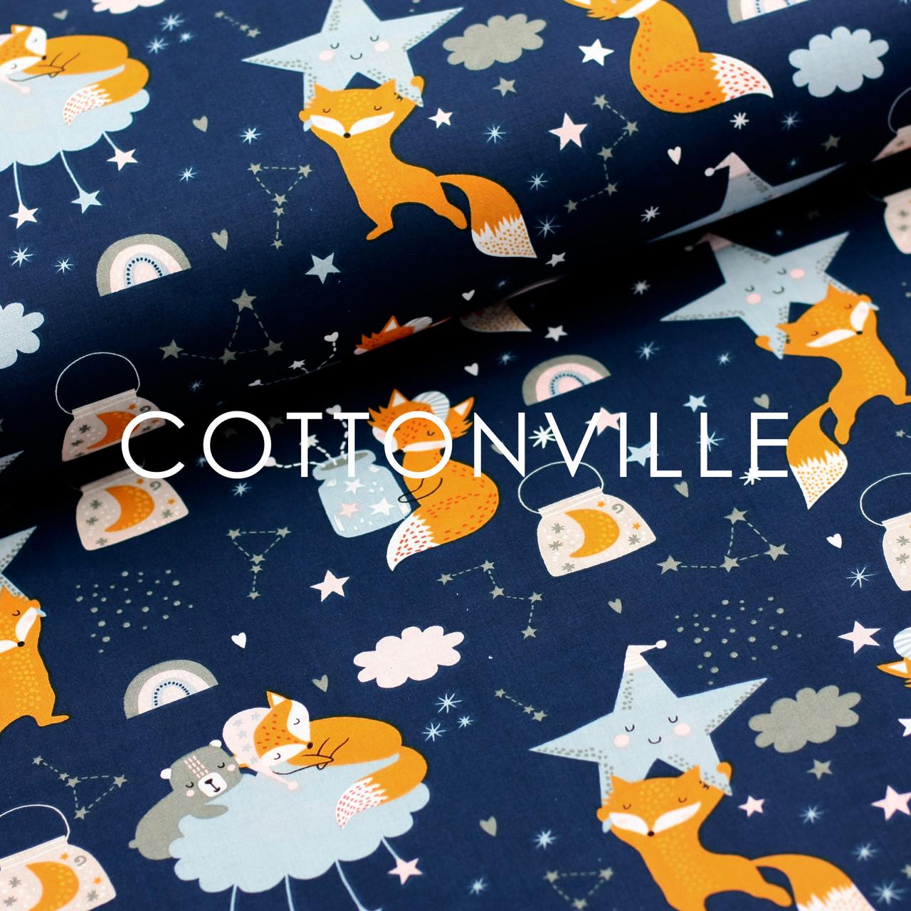Хлопковая ткань Лисички с голубыми звездами