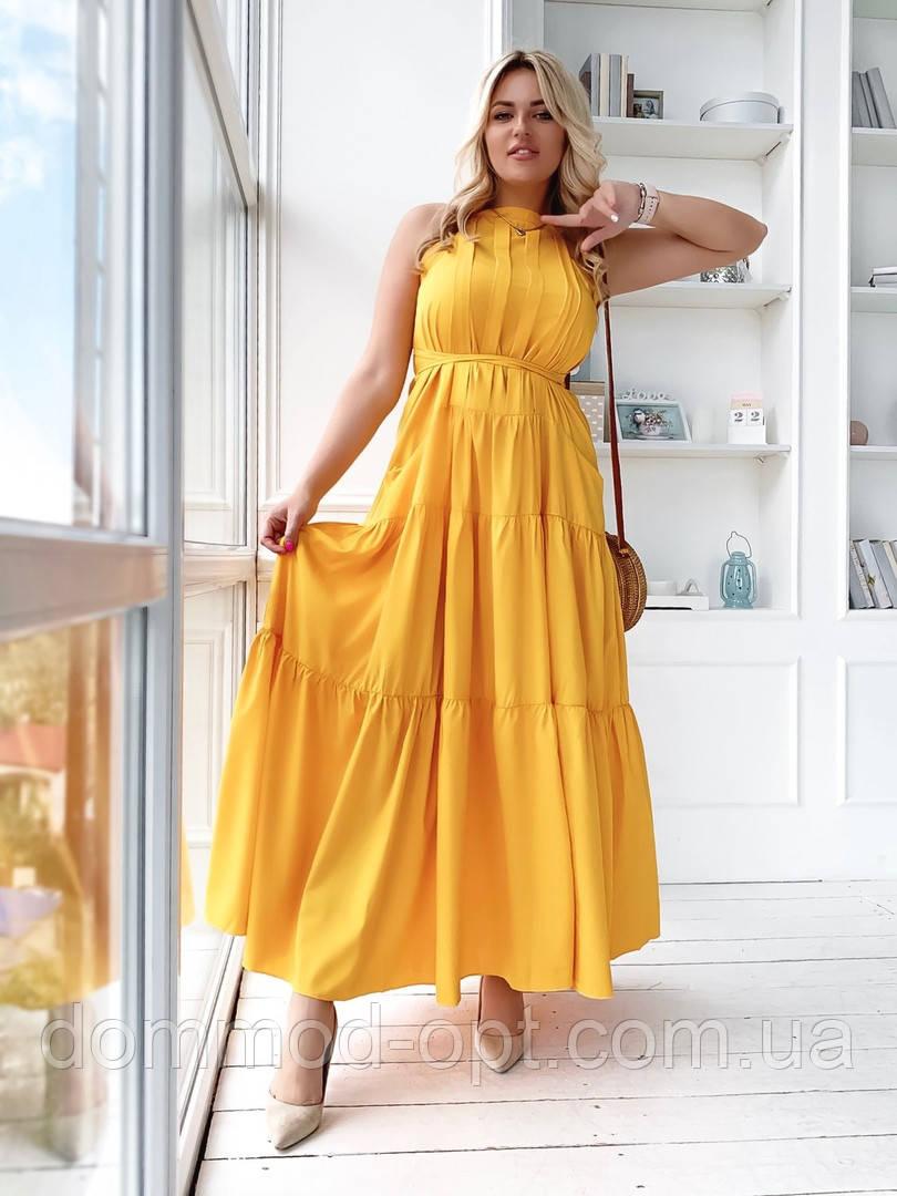 Женское стильное летнее платье в пол №1065 (р.48-54) горчица
