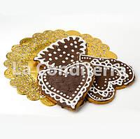 Золотые ажурные салфетки, d=25 см (50 шт.), фото 1
