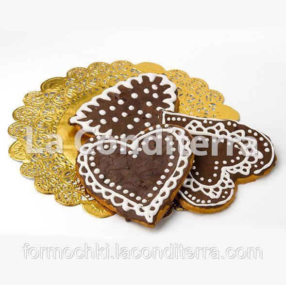 Золотые ажурные салфетки, d=25 см (50 шт.)