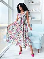 Женское стильное летнее платье с цветочным принтом №1138 (р.42-46)  , фото 1