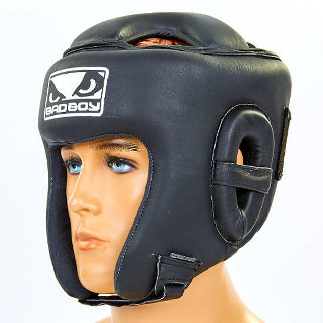 Шлем боксерский открытый с усиленной защитой макушки кожаный BAD BOY VL-6626