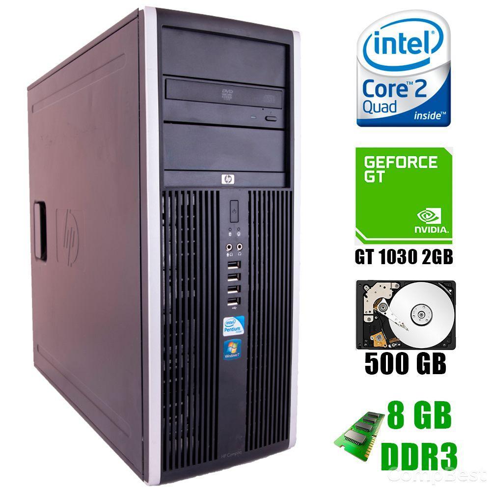HP 8000 Tower / Intel® Core™2 Quad Q9400 (4 ядра по 2.66GHz) / 8GB DDR3 / 500GB HDD / nVidia GeForce GT 1030 2GB GDDR5 / DVD-RW