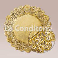 Золотые салфетки ажурные, d=36 см (10 шт.)