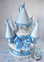 Замок из памперсов новорожденному в подарок 100 штук.