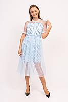 Нарядное фатиновое платье с коротким рукавом A-M - голубой цвет, M (есть размеры)