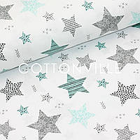 Бязь Звезды мятно-черные на белом