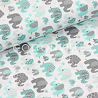 Хлопковая ткань Слоники мятно-серые, фото 1