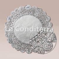 Салфетки ажурные, серебряные, d=34 см (10 шт.)