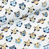 Хлопковая ткань Совушки коричнево-голубые