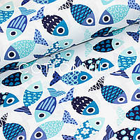 Хлопковая ткань Рыбки сине-голубые