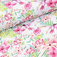 Хлопковая ткань Колибри в цветах