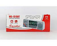 Портативна mp3 колонка WS 1515 Bluetooth з годинником, FM, AUX, USB / microSD, 1200mAh, 3 Вт, jack 3.5 мм, чорно-червона