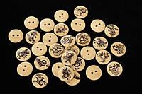 (Ціна за 100шт) Гудзик декоративна Музика, діаметр 1,5 см, види асорті, бежева, гудзики для декору, декоративние гудзики