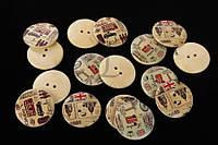 """(Ціна за 50шт) Гудзик декоративна """"Britain"""", форма кругла, діаметр 3 см, гудзик для декору, пришивних декор"""